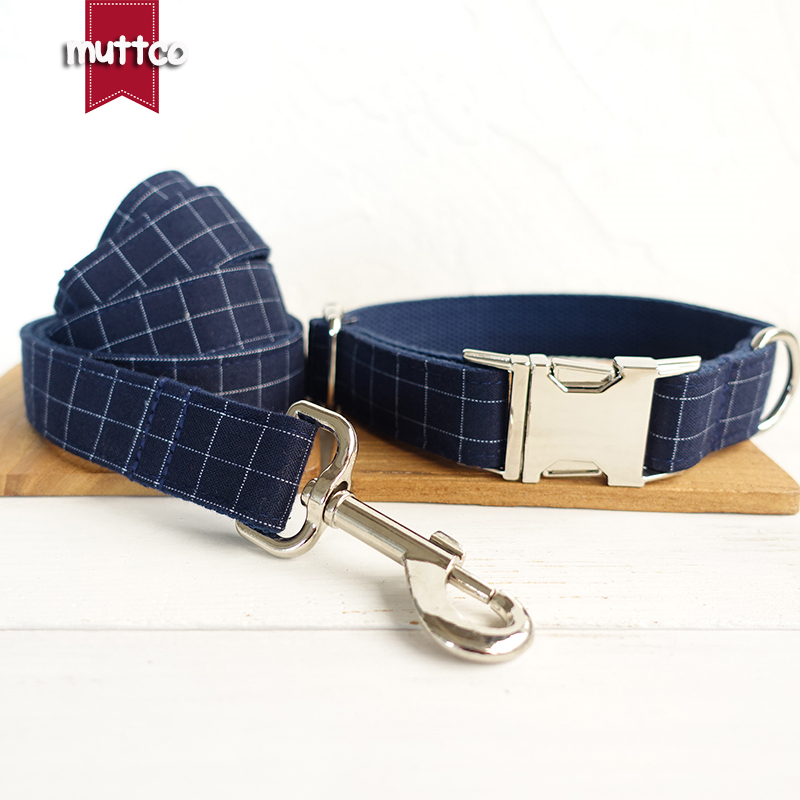 20pcslot MUTTCO wholesale self-designed cool handmade beefy dog collar THE DEEP BLUE PLAID 5 sizes collars and leashes UDC021