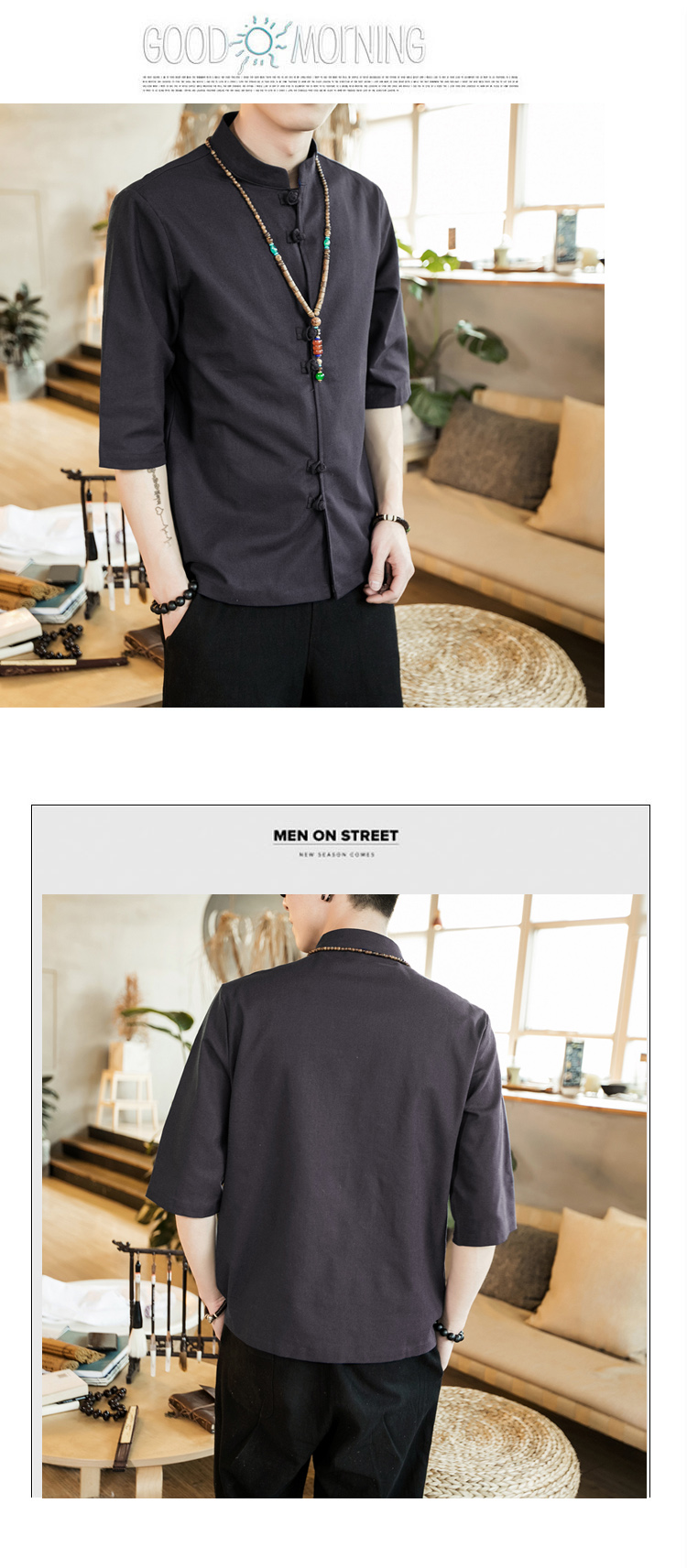 Chinese style summer fashion man's Pure color linen Short sleeve shirt high-grade male comfortable slim fit leisure shirt M-5XL 56