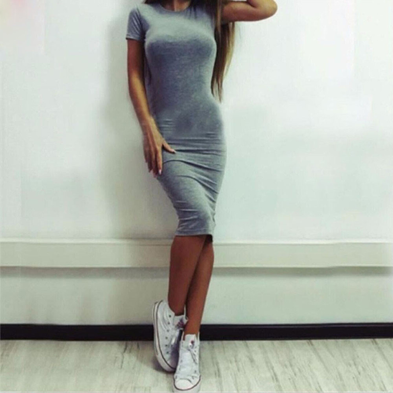 Fashion Women Short Sleeve Bodycon Casual Party Solid Color Round Neck Knee-Length Sheath Solid Color Slim Fit Dress