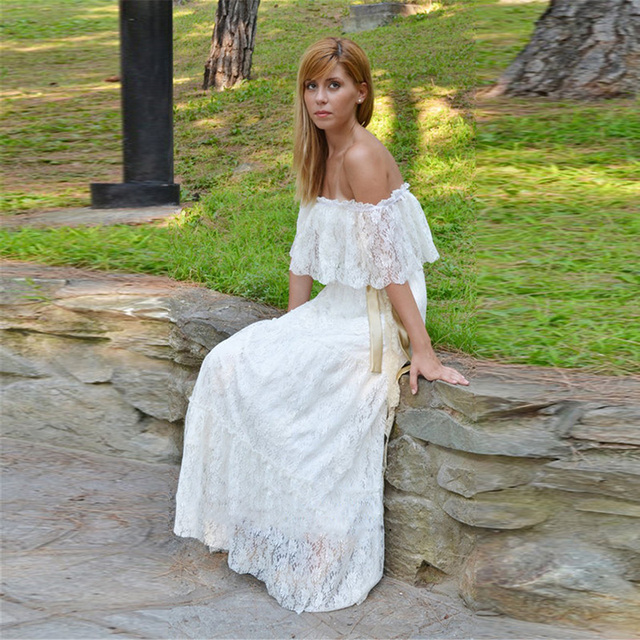 Vintage Bohemian Lace Wedding Dress Ivory Cream Gown Long Boho Bridal Strapless