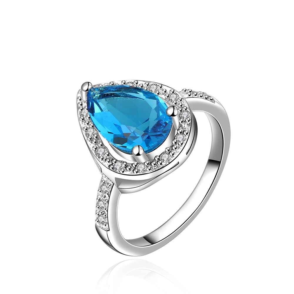 Free Shipping Girl Jewerllry Wedding Ring Wish Be Dream Sky Blue Bulgary  Womens Rings Anillos Couponfblr015