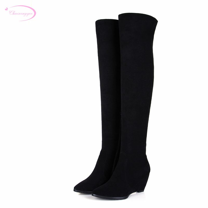 Chainingyee handmade quality custom sexy pointed toe knee high boots frosted sheepskin zippers wedge women's riding boots handmade quality custom sexy charm contracted style leather side zippers rivet women s knight boots