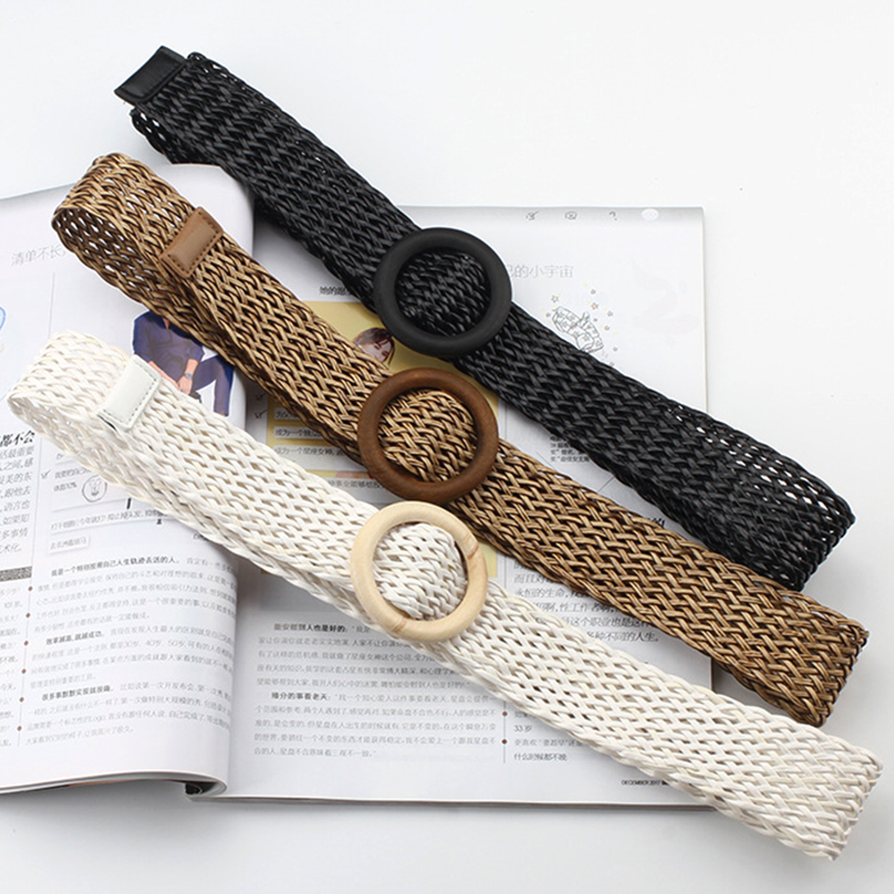 1Pc New Fashion Solid Belt With Round Wooden Buckle Summer Boho Wide Braided Woven Straw Female Belt Knitted Chain On Pants Hot