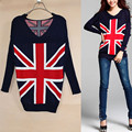 2014 Free Shipping Hot Sale New Fashion Womens British Flag Pattern Knit Long Sleeve Pullovers Sweater Casual Pullover Coat M