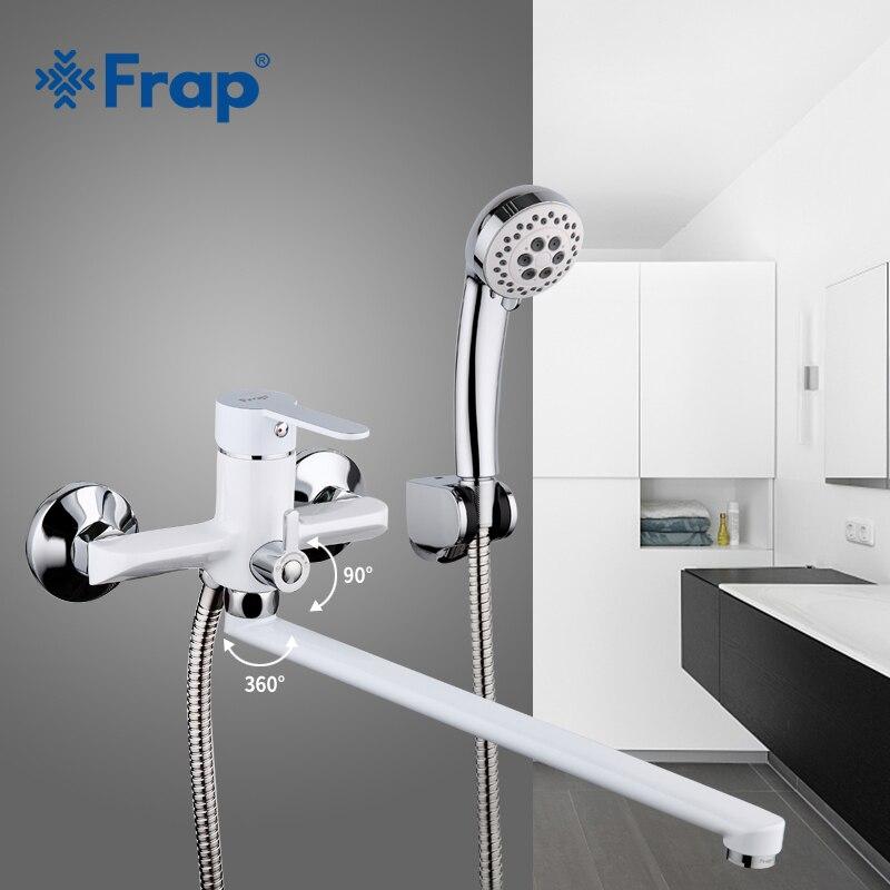 Frap 1 set 35 cm blanc sortie tuyau bain douche robinet en laiton surface du corps peinture par pulvérisation pomme de douche robinet de salle de bain F2241/2242/2243