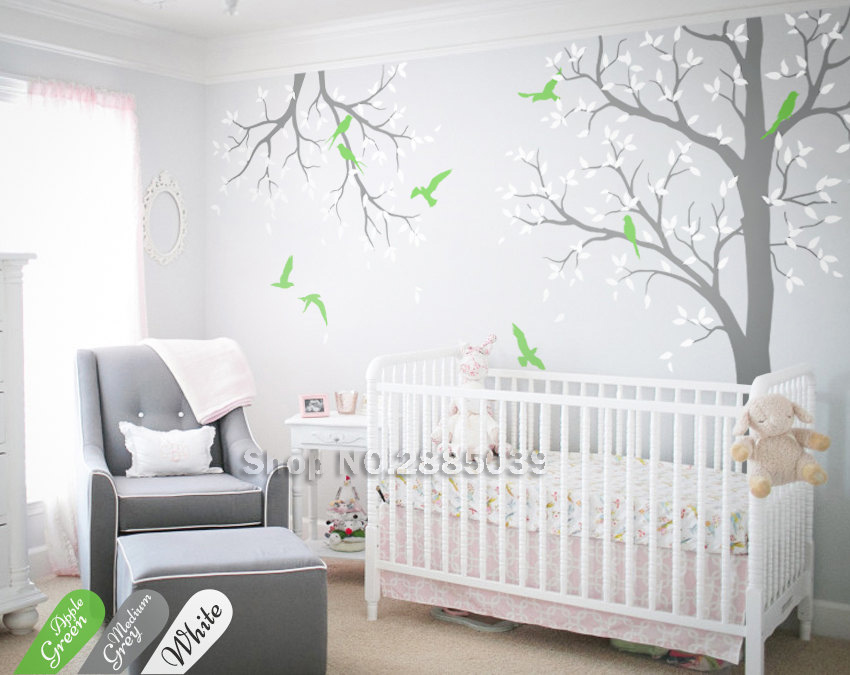Large Tree With Branch Wall Stickers For Baby Kids Room Nursery Vinyl Natural Mural Art Living Room Decals Vinilos Paredes LC586
