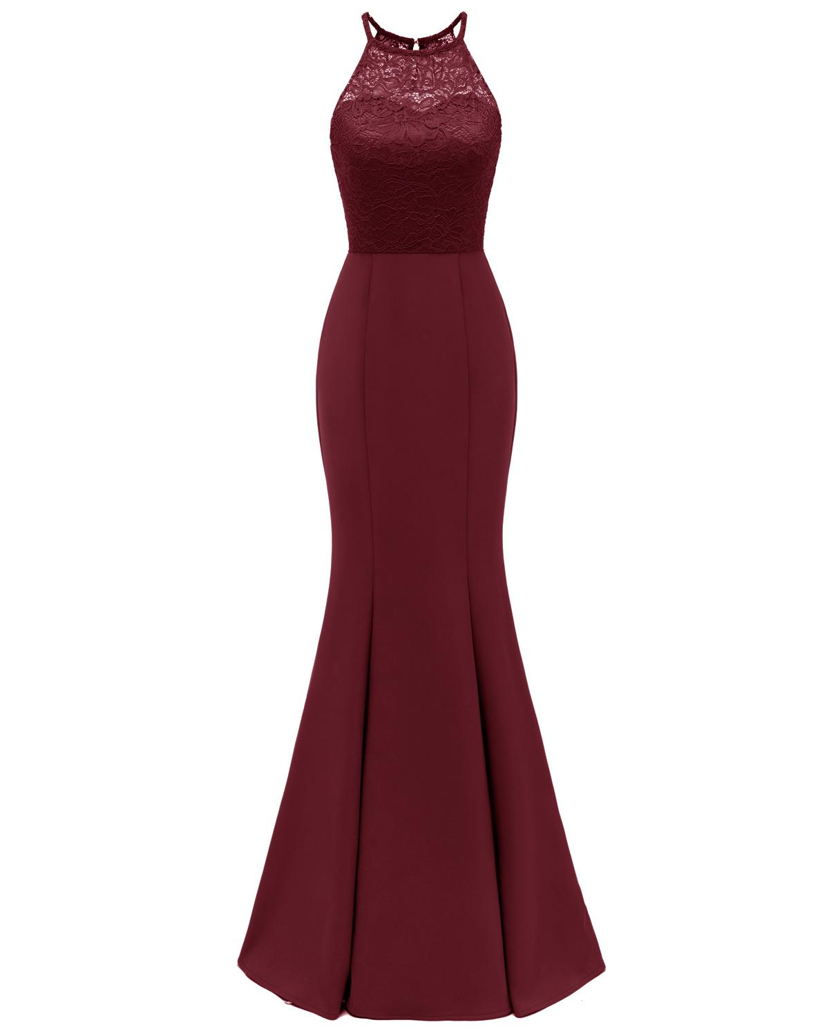 Halter Burgundy Robe Mermaid Longue Dentelle Bridesmaid Dresses 2019 Sleeveless Navy Blue Black Women Wedding Guest Party Gowns