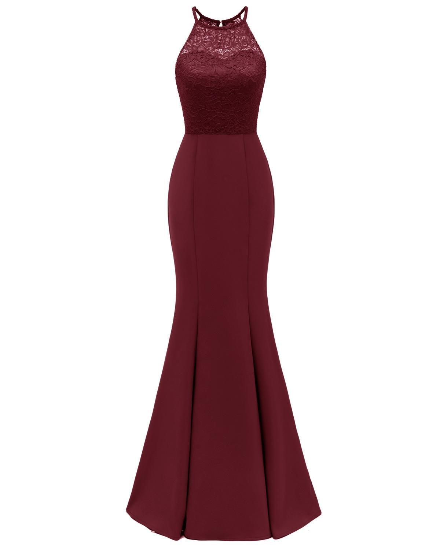 Halter Burgundy Robe Mermaid Longue Dentelle   Bridesmaid     Dresses   2019 Sleeveless Navy Blue Black Women Wedding Guest Party Gowns