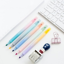 5 pcs/Lot Twin colored highlighter markers Fluorescent pens Double color Stationery Office accessories School supplies FB723
