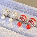 2017 Fashion Hollow Out Big Double Pearl Jewelry Crystal Rhinestone Ball Earrings Stars Stud Earrings for Women Girls Jewelry