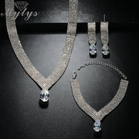 Mytys Flat Crystal Jewelry Sets White Gold Color Fashion Ball Party High Quality Jewellery Sets Gift