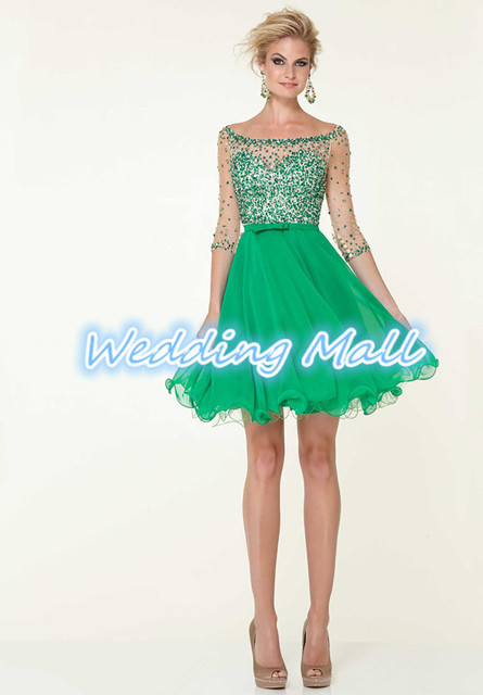 US $95.9 |8th Grade Graduation Dresses 2014 Plus Size Fashion A Line Mini  Green Beaded Sequined Chiffon School New Term Homecoming Dresses-in ...