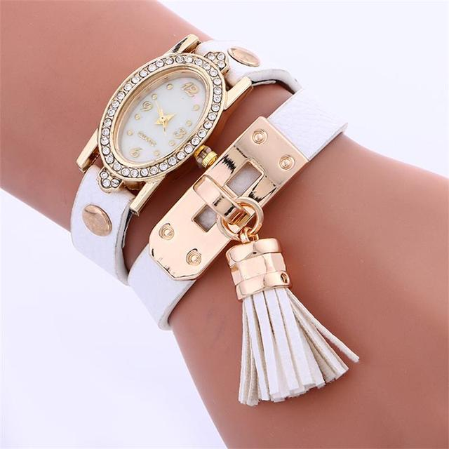 MINHIN Women Casual Analog Quartz Watches Rhinestone Oval Dial Gold Watch Ladies