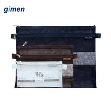 Transparent PVC File Document Bag Folder Grid Double Zipper Student Pen Pencil Storage School Supplies GC05-A522