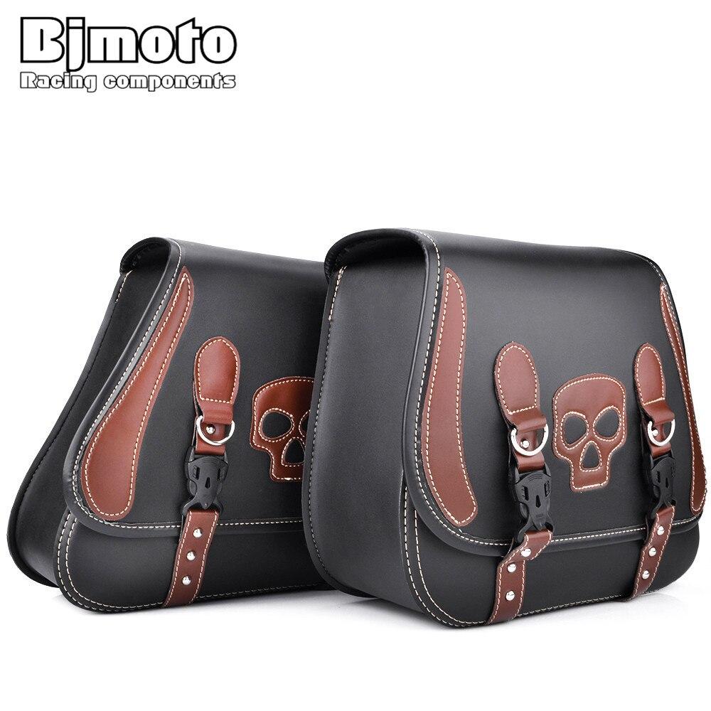 BJMOTO Universal Motorcycle Bag PU Leather SideSaddle Tool Bags Motocross Saddlebags for Harley Sportster Motor Bike aftermarket