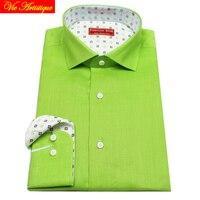 Male Long Sleeve Business Formal Dress Light Green Linen Shirts Men S Big Plus Size Casual