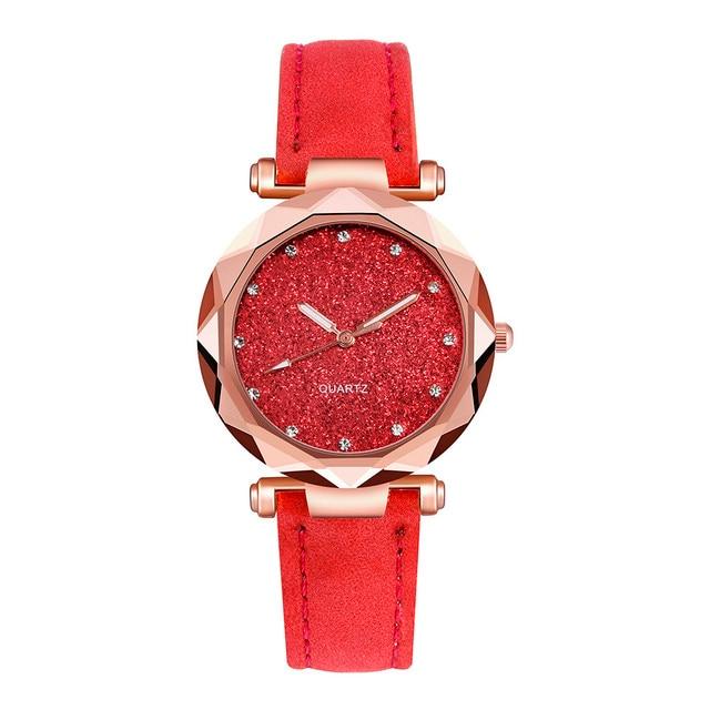 Ladies Minimalist fashion Casual Romantic Starry Sky Wrist Watch Leather Rhinestone Ladies Strap Watch Souvenir Birthday Gifts 5