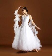 Ballroom Competiton Dance Dress Standard Waltz Tango Dancing Wear Lady's Cheap White Ballroom Dance Dresses