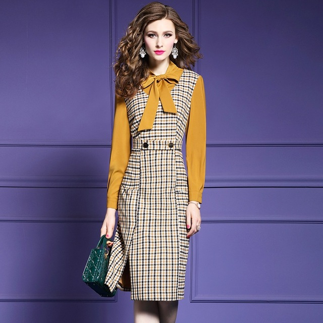 a59eafce6e Office-lady-Plaid-dress-2018-new-Spring-Autumn-Patchwork-Bow-Long-sleeves -dresses-plus-size-women.jpg 640x640.jpg