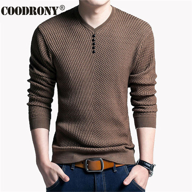 COODRONY V-Neck Knitted Mens Wool Sweater