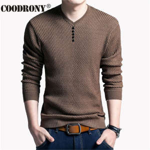 COODRONY Sweater Men Shirt Pull Slim-Fit V-Neck Knitted Long-Sleeve Homme Cashmere-Wool