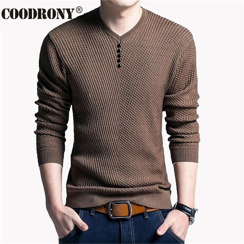 COODRONY, suéter Casual con cuello en V para hombre, jersey de otoño ajustado, camisa de manga larga para hombre, suéteres de punto de lana de Cachemira para hombre