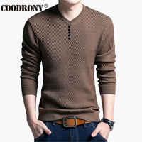Chandail COODRONY décontracté pour hommes pull col V pour hommes coupe ajustée manches longues pour l'automne chandail tricoté en laine de cachemire pour hommes