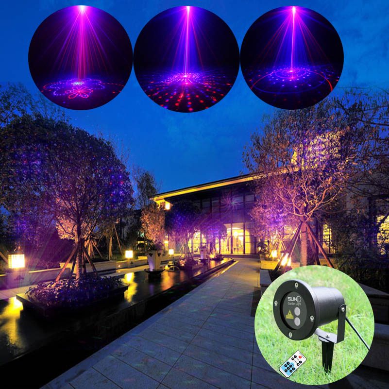 High Quality 20 Patterns Red Blue Landscape Laser Projector Show Lights For Home Garden Decoration Waterproof Holiday Lighting rg mini 3 lens 24 patterns led laser projector stage lighting effect 3w blue for dj disco party club laser