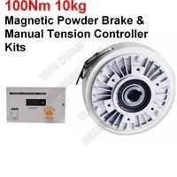 100Nm 10 kg DC 24 V Hohl Welle Magnetischen Pulver Bremse & Manuelle Spannung Controller Kits für Druck Verpackung Peritoneal maschine