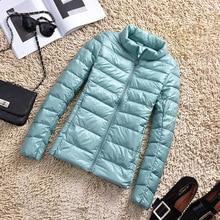 Осенне-зимнее пальто, ультра-тонкая куртка, женские пальто, стоячий воротник, повседневное белое пуховое пальто, тонкие короткие куртки, Jaqueta размера плюс 5XL