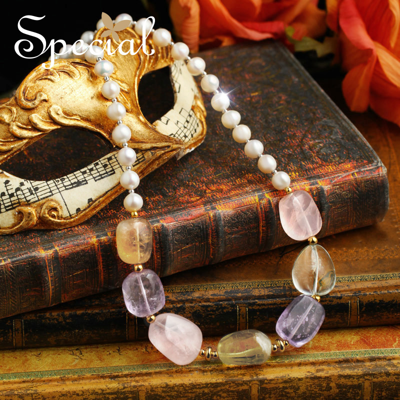 Special New Fashion Natural Pearls Maxi Necklace Crystal Beaded Necklaces & Pendants Jewelry Gifts for Women XL150617 pearls beaded detail knit tee
