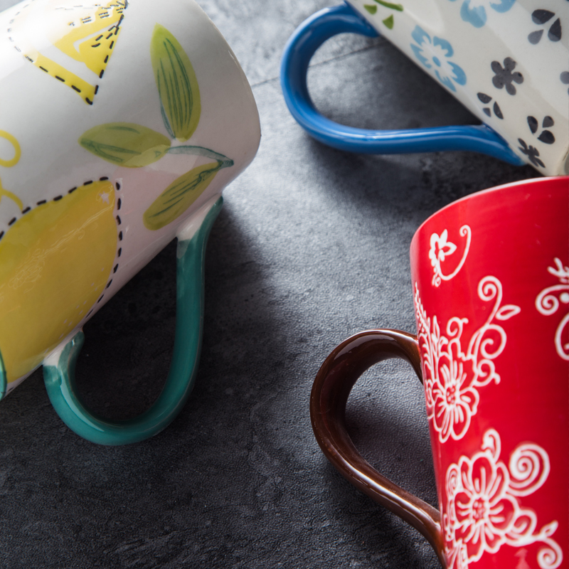 Creative Handpaint Coffee mugs Underglaze color Ceramic Cups Breakfast cup water bottle Bried retro Drinkware Best Lovers Gift