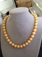 RIESIGE 12-13 MM Australian südsee goldenen perlenkette 18 inch> Verkauf jewerly freies verschiffen