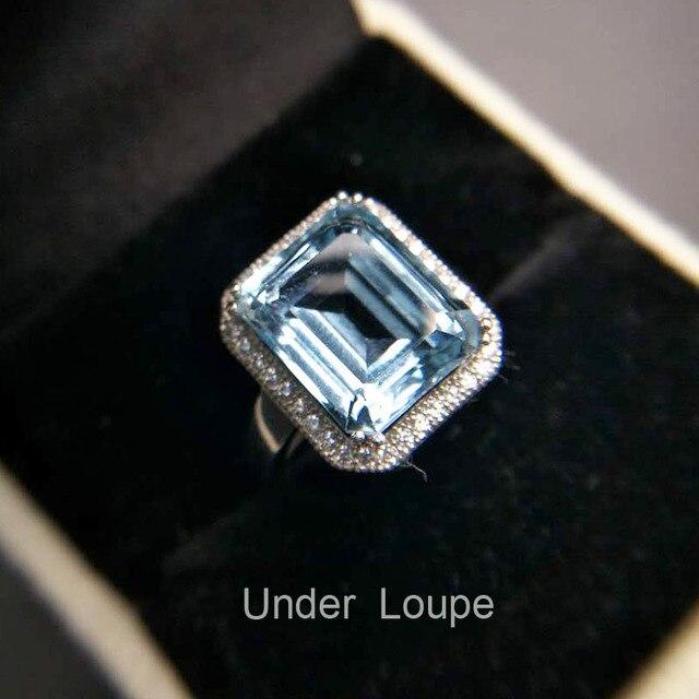 TBJ, taille émeraude naturelle 5ct bague topaze bleue 925 argent sterling pierre précieuse naturelle oct9 * 11mm bijoux pour femmes avec boîte-cadeau