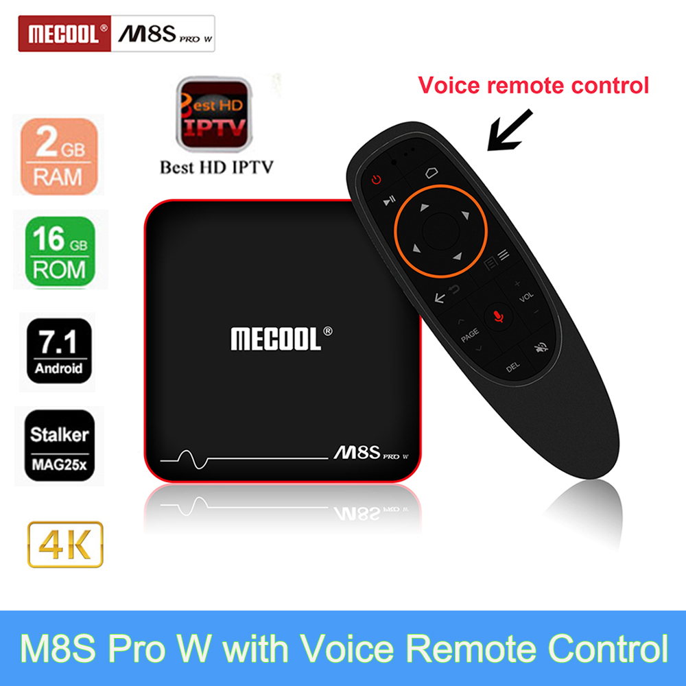 M8S PRO W 2.4G Voice Control Smart TV Box Android 7.1.1 Amlogic S905W 2GB RAM 16GB ROM H.265 4K Media Player Support Spain IPTV недорого