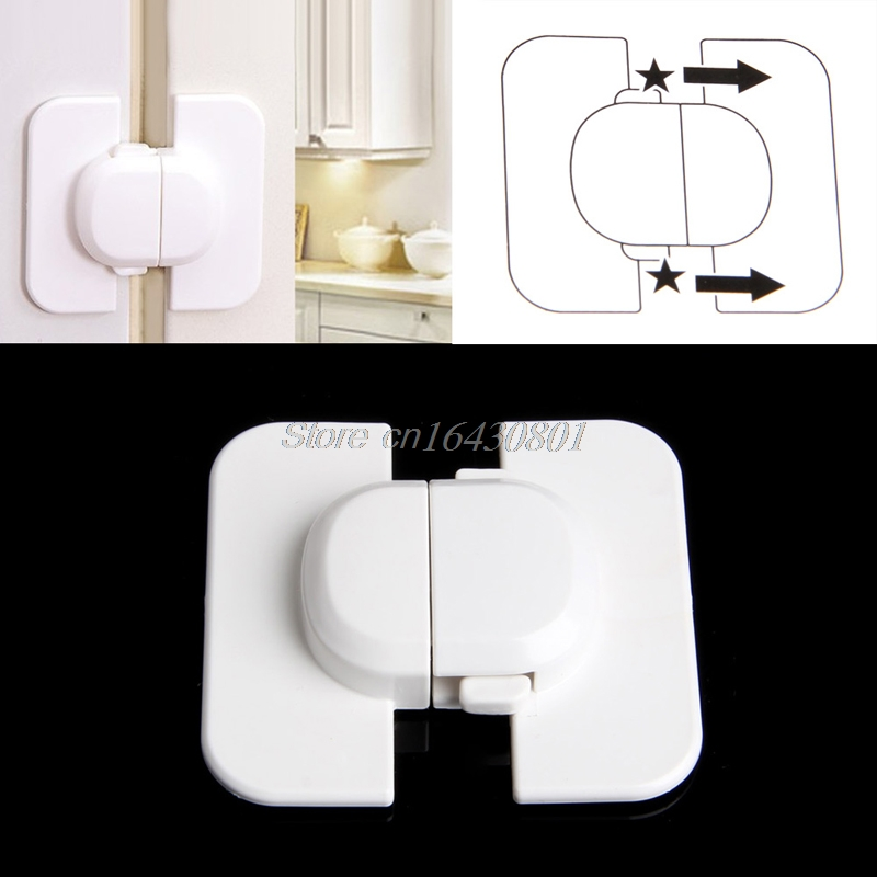 Use Kids Child Baby Pet Safety Lock Proof Door Cupboard Fridge Cabinet Drawer #S018Y# High Quality 2pcs toddler baby safety lock kids drawer cupboard fridge cabinet door lock plastic cabinet locks baby security lock new arrival