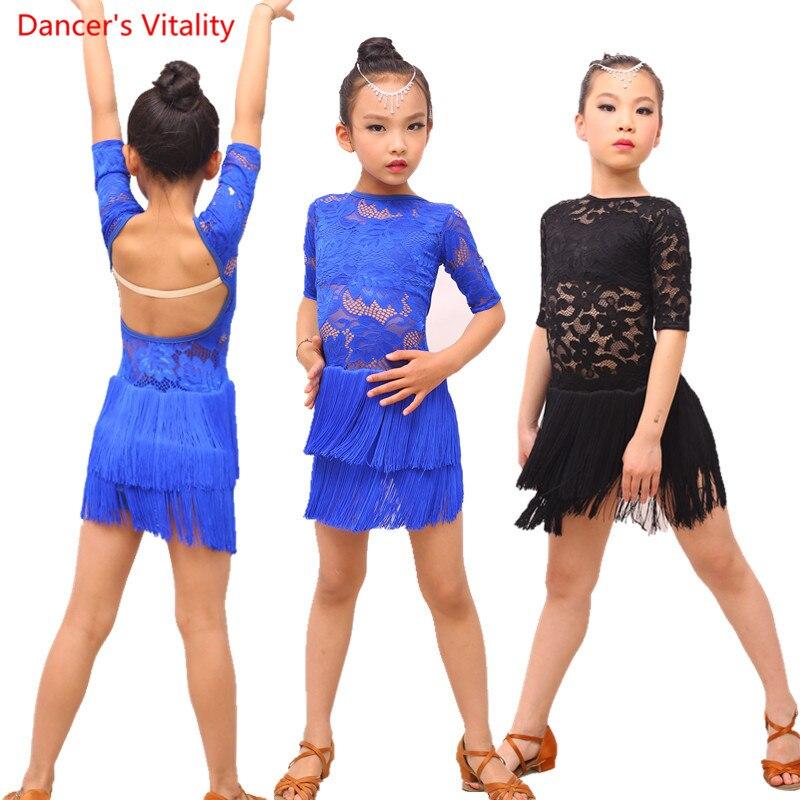 Half Sleeve Lace Backless Latin Dance Dress Children Girls Ballroom Dance Costumes Kids Salsa Rumba Cha Cha Samba Tango Dress