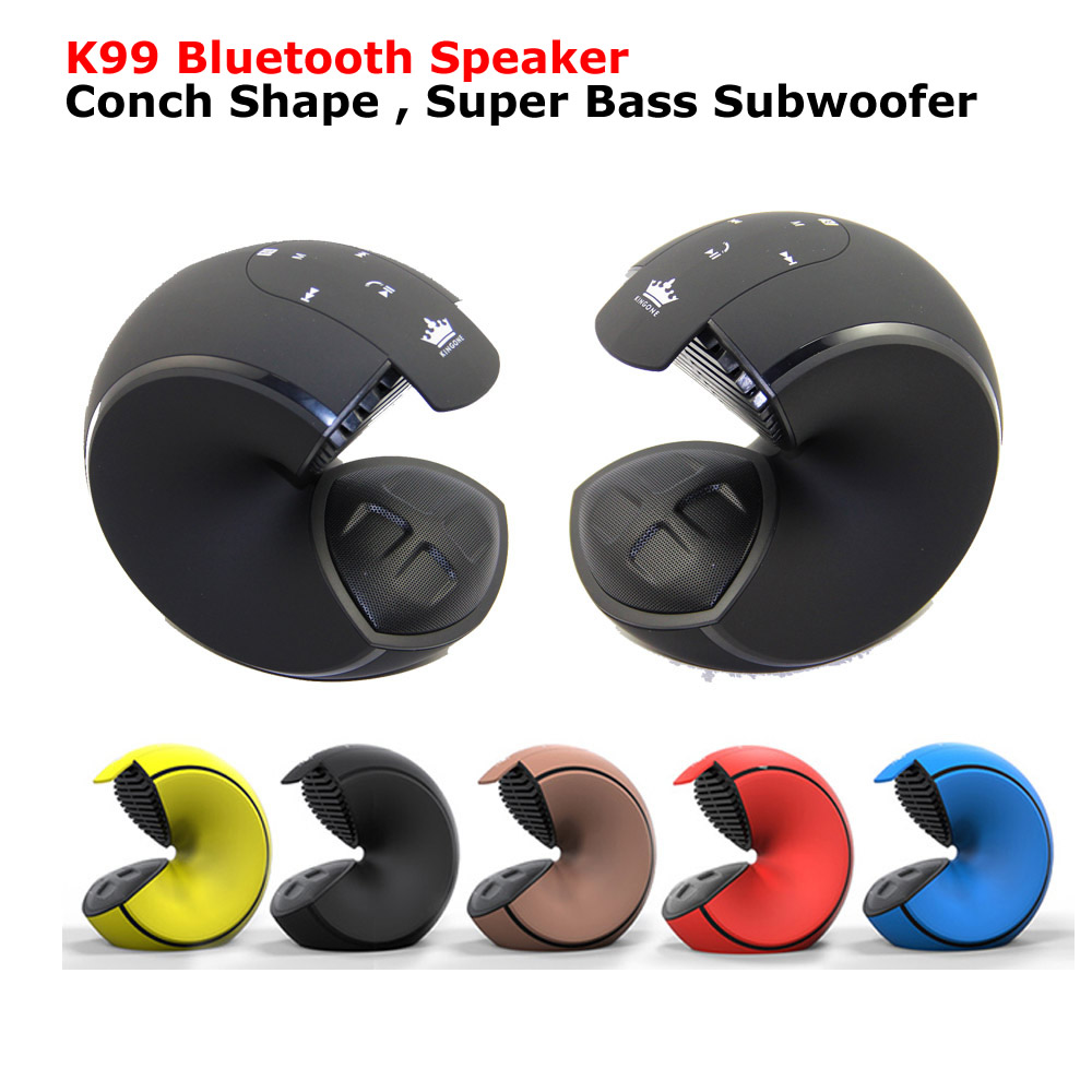 K99 Bluetooth Speaker Conch Shape Stereo Super Bass Subwoofer soundbar Support TF Card NFC Wireless FM Radio Portable Speakers portable mini bluetooth speaker bluetooth wireless remote contro l camera shutter release portable am fm radio tf card optional support portable wireless hands free bluetooth multi functional bluetooth stereo led to remind the light for ios andr