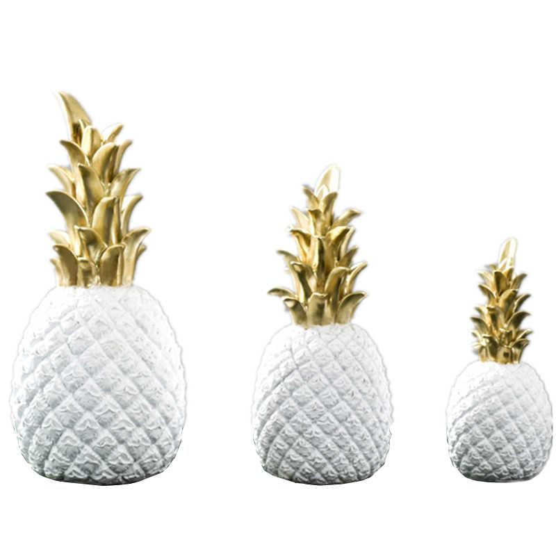 VILEAD 3 размера 9,8 ''7,8'' 5,9 ''полимерные ананасовые миниатюрные фигурки золотого, черного и белого цветов, модель фруктов, поделки для украшения дома