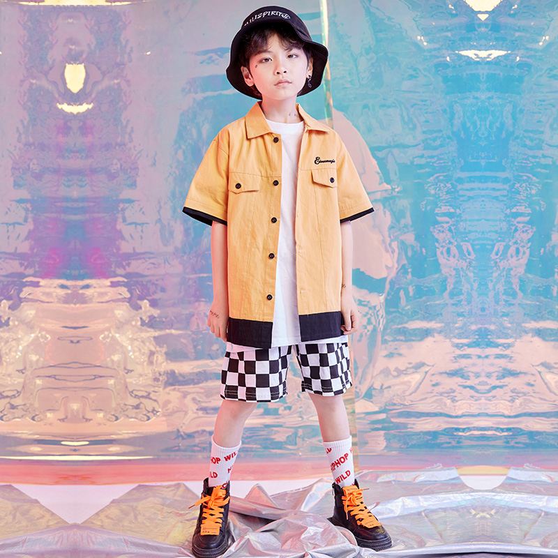 Boys Jazz Modern Dancing Costumes Yellow Shirt Shorts Suits Kids Children'S Hip Hop Dance Wear Outfits Stage Costumes DQS1521