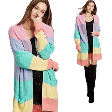 2019 Autumn Rainbow Striped Women Sweater Coat Long Sleeve V Neck Patchwork Knitted Open Front Cardigan MD-LONG Women's Coat open front colorful striped cardigan