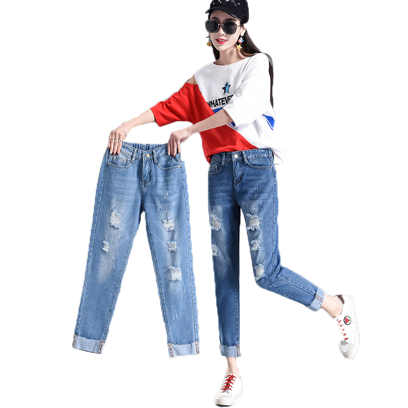 Summer 2019 Ripped Boyfriend Jeans For Women High Waist Loose Skinny Jeans Woman Femme Denim Mom Jeans Feminino Plus Pants D25 denim