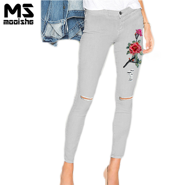 852008d187e Spring Vintage Women 3D Floral Embroidered White Jeans Knee Ripped High  Waist Women Pencil Jeans Denim