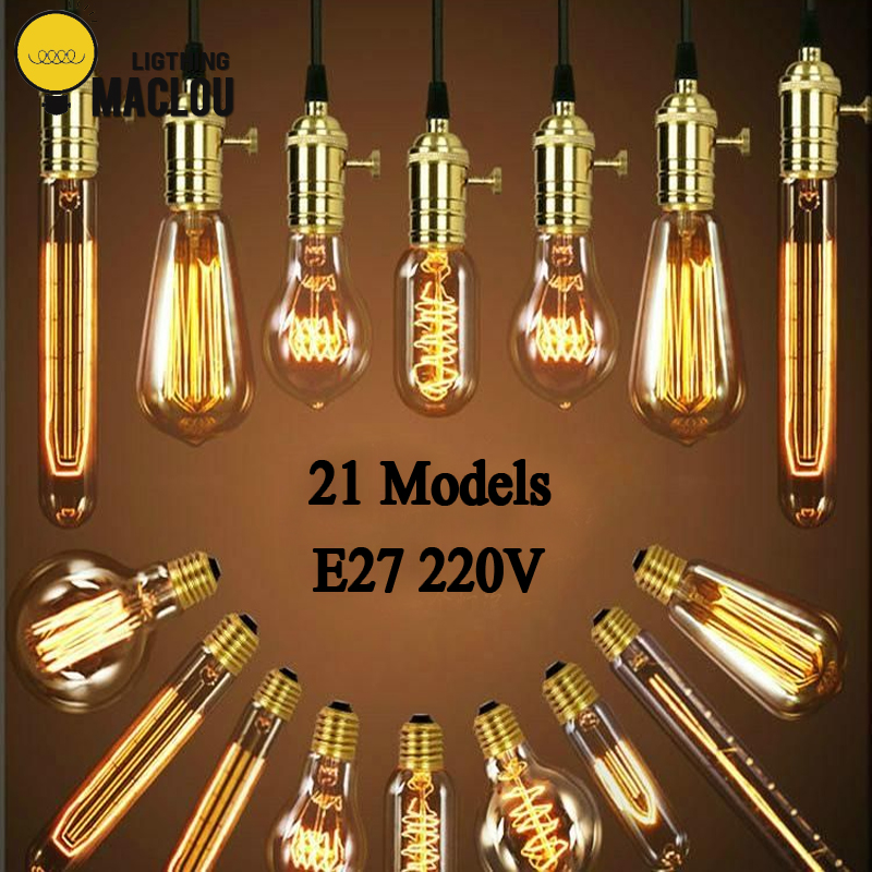 MACLOU Vintage Edison Bulb E27 220V Retro Lamp 40WAmpoule Vintage Light Bulb Edison Lamp Incandescent Light Filament Edison Bulb lumiparty antique light bulb classical edison bulb e27 8w filament tubular nostalgic filament incandescent home lamp