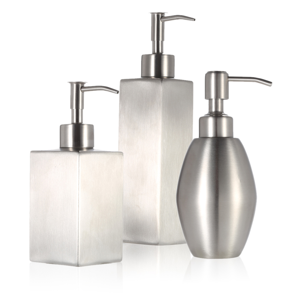 High quality stainless steel soap liquid dispenser for for Bathroom countertop accessories sets