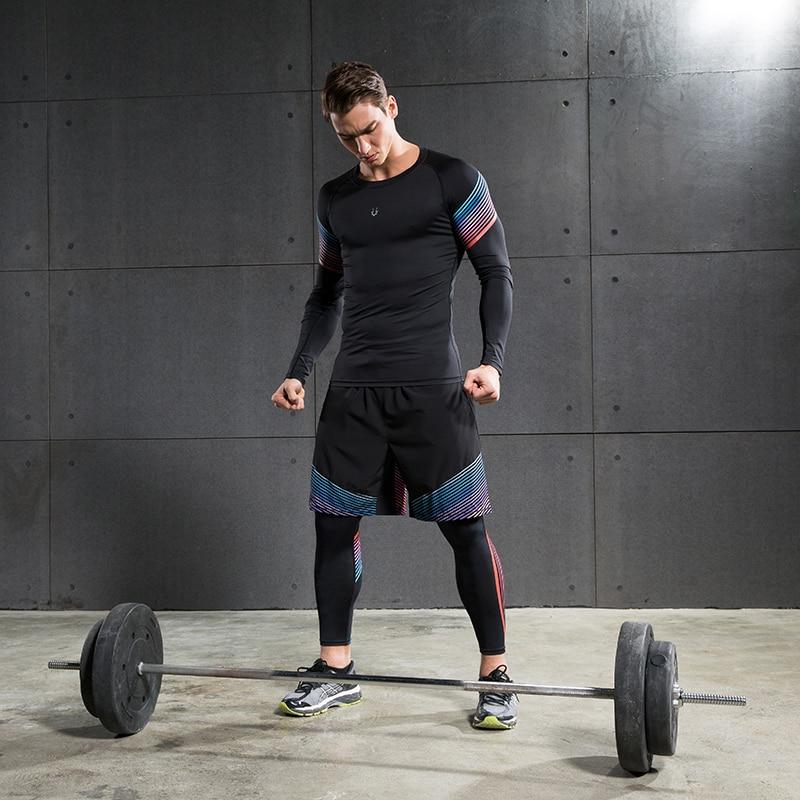 Erkekler Sıkıştırma Gömlek Spor Jogging Yapan Egzersiz Elbise - Erkek Giyim - Fotoğraf 6