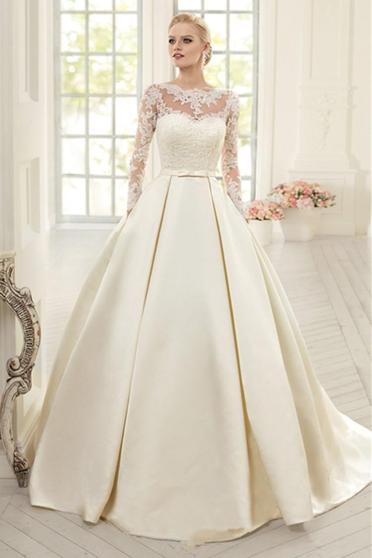 Elegant-Ivory-Lace-Wedding-Dresses-Long-Sleeves-Satin-Wedding-Dress-Bow-Vestido-de-noiva-Court-Train