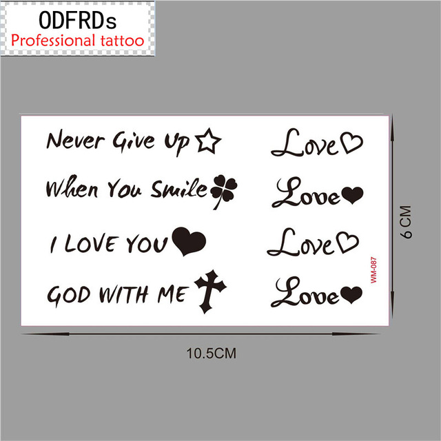 (Min Order $0.5) Temporary Tattoo For Man Woman Waterproof Stickers Makeup LOVE YOU GOD WITH ME NEVER GIVE UP Tattoo WM087