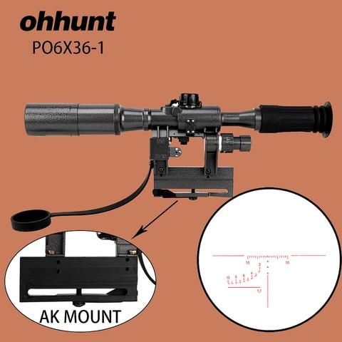 po 6x36 ohhunt caca svd ambito red iluminado riflescope tatico mira optica tipo de montagem