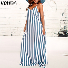 VONDA Bohemian Summer Dress 2019 Women Striped Long Dress Sexy Sundress V Neck Strapless Sleeveless Floor-length Beach Vestido